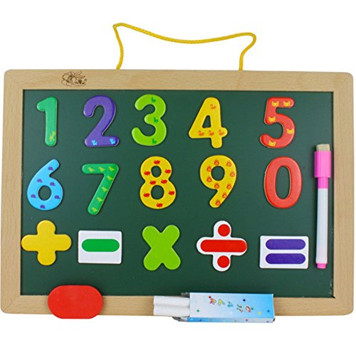Elloapic Wooden Wall Mounted Double-Sided Drawing Board Black and White Board Writing Board Blackboard Toy with Numbers, Eraser, Pen and Chalk
