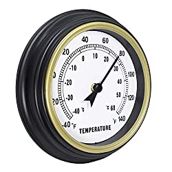 45Min 9-Inch Indoor/Outdoor Retro Analog Temperature Easy to Read Wall Clock Home Decor for Garden Kitchen Bathroom Bedroom and Many More