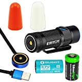 Olight S1R Baton 900 Lumen USB rechargeable CREE LED Flashlight , Rechargeable battery, Olight traffic wands (White/Orange) with EdisonBright CR123A Lithium Battery