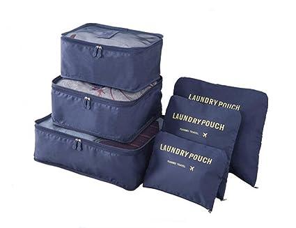 Organizadores para maletas, Kfnire 6pz organizador de equipaje de viaje ropa multifuncional paquetes de clasificación (Armada)