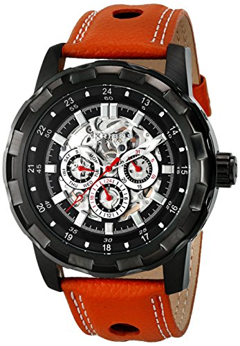Akribos XXIV Men's AK557BKBR Automatic Self-Wind Movement Watch with Black and See Thru Skeleton Dial and Cognac with White Stitching Leather Strap