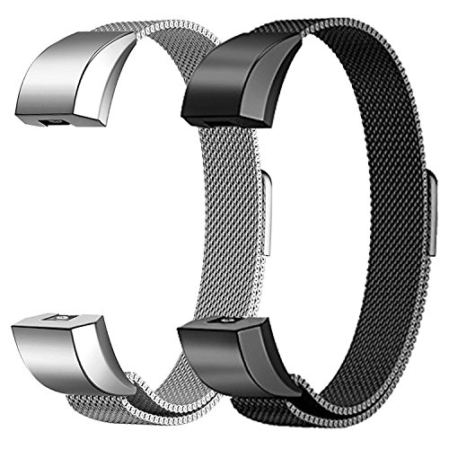 Fitbit Alta HR and Alta Bands Metal Small & Large (5.5″ – 9.9″), Swees 2 Packs Milanese Stainless Steel Band for Fitbit Alta HR and Alta Women Men, Silver, Black, Rose Gold, Colorful, Champagne