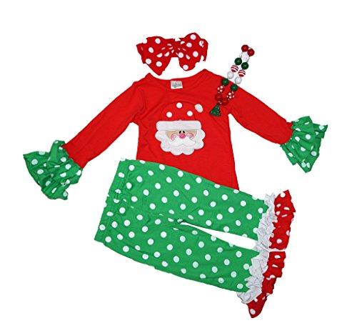Girls Boutique Clothing Holiday 4 Piece Christmas Santa C...