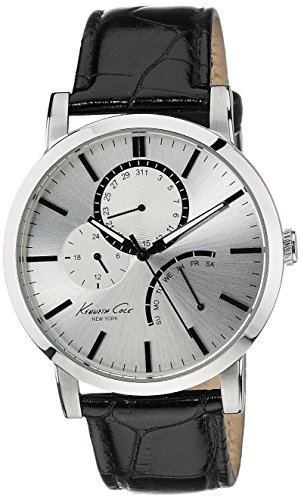 Kenneth Cole New York Men's KC1934 Dress Sport Silver Dial Sub-Second Eye Multi-Functions Strap Watch (Silver Sport Dial)
