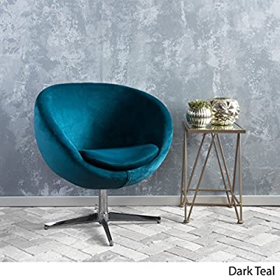 Sphera Dark Teal Velvet Modern Chair - Includes: One (1) Chair. Material: velvet. velvet Composition: 100% Polyester. Leg Material: Steel. Color: Dark Teal. Leg Color: Chrome. Light Assembly Required. Dimensions: 29.50 inches deep x 23.50 inches wide x 32.75 inches high. - living-room-furniture, living-room, accent-chairs - 51j UESCFoL. SS400  -