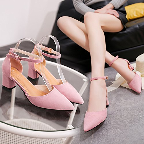 Sandals Female Heel Joy Shallow Women'S Comfort Summer Thick Casual Middle Pink Summer WHLShoes Sandals Mouth And 1nIqWWXB