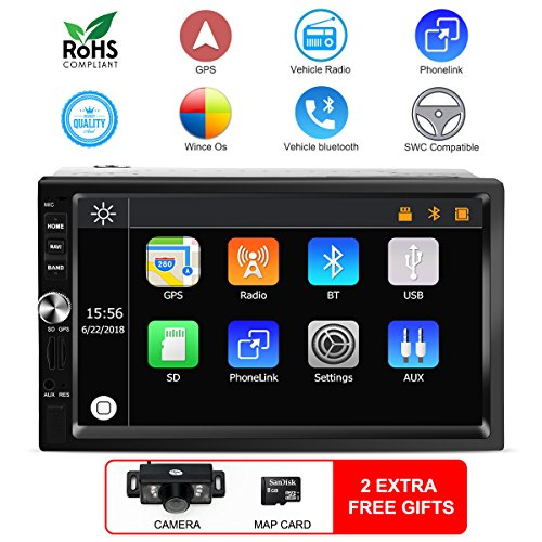 -dash car navigation stereo system MP5 media Universal player for FM/AM radio/GPS/USB/SD/Audio 1080P Video/Bluetooth /Phone Easylink/AUX-in/Steering wheel controls/Rearview camera ()