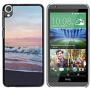 TopCaseStore / la caja del caucho duro de la cubierta de protección de la piel - Sea Pink Sky Horizon Beach View - HTC Desire 820