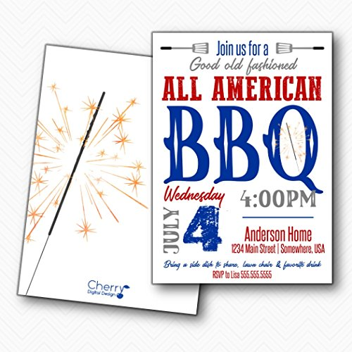 All American 4th of July BBQ Party Invitations | Envelopes Included