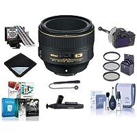 Nikon 58mm f/1.4G AF-S Nikkor Lens USA - Bundle with 72mm Filter Kit, LensAlign MkII Focus Calibration System, Follow Focus and Rack Focus, Cleaning Kit, Flex Lens Shade, Software Package and MORE