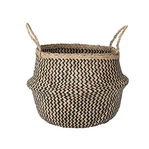 Sona Home Seagrass Basket with Handles | 4 Sizes, 2 Styles | Woven Basket for Plants, Belly Basket, Blanket Holder | Multipurpose Decorative Storage Baskets    (Fake Grass Blanket)