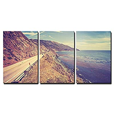 3 Piece Canvas Wall Art - Vintage Retro Toned Scenic Pacific Coast Highway, California, USA. - Modern Home Art Stretched and Framed Ready to Hang - 16