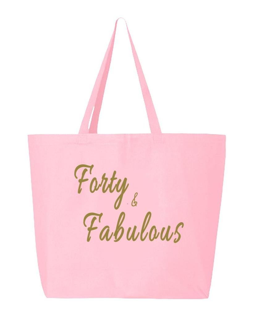 shop4ever& Fabulousゴールドヘビーキャンバストートバッグ誕生日再利用可能なショッピングバッグ10オンスジャンボ 25 oz ピンク S4E_1215_FortyFabGld_TB_Q600_L Pink_1 B06Y1KLMBC  ライトピンク