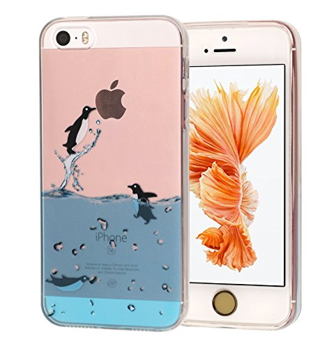 5S Case, Dolphin Penguin Whale Seal Polar Bear Sea Lion Animal Design Matte Slim Fit Clear Soft TPU Cover Case for Iphone SE 5SE 5s (2 Penguin) (Seals Iphone 5s Case compare prices)