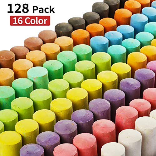 128 Pack 16 Colors Jumbo Sidewalk Chalk Set, Washable Art Play For Kid and Adult, Paint on School Classroom Chalkboard, Kitchen, Office Blackboard, Playground, Outdoor, Gift for Birthday Party -