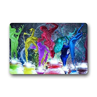 Colorful paint splash personalizado antideslizante felpudos bienvenida para exterior/interior (23,6x 15,7)