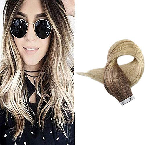 "Full Shine 18"" 20 Pcs 50 Gram Per Package Color#4 and #3 Fading to #613 Blonde Balayage Highlight Human Hair Extensions Remy Tape Extensions Three Tone Ombre Hair"