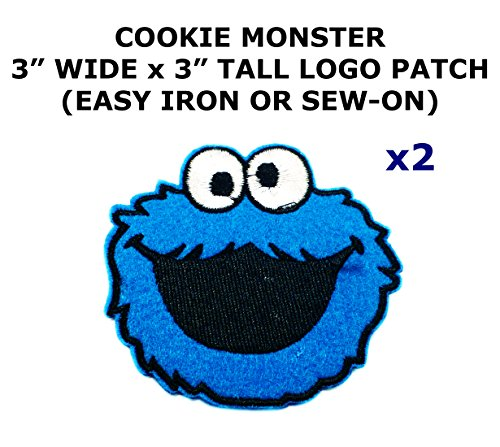 2 PCS Cookie Monster Cartoon Theme DIY Iron / Sew-on Decorative Applique Patches