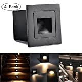 INHDBOX Waterproof Corner/Deck/Recessed Step Lights,3W 85-220V 3200K LED Stairs Step Night Light Indoor/Outdoor Wall Lighting-Warm White Light (Black- 4 Pack)