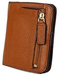 Big Sale-50% OFF-Yaluxe Women's Small Compact Bi-fold Leather Pocket Wallet Brown