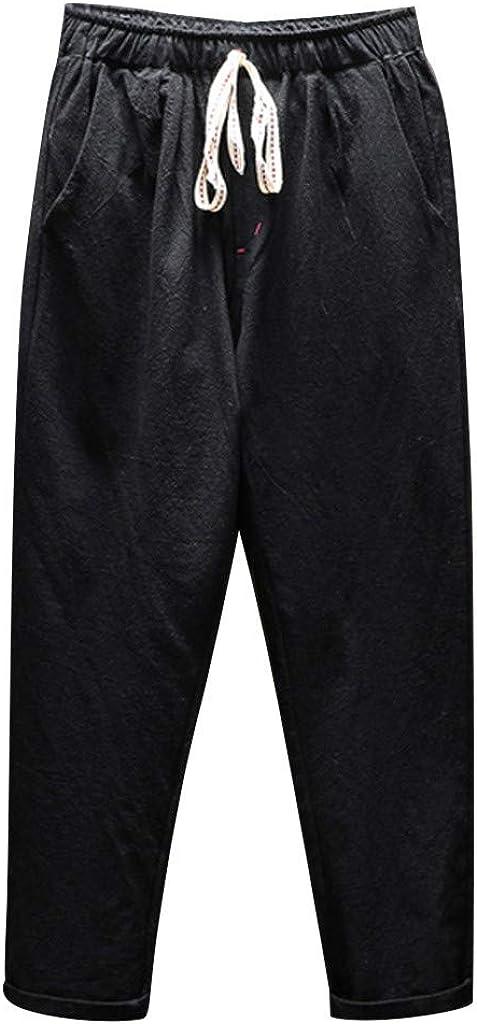 iHAZA Hommes Nouveau /Ét/é Loisir Coton Et Chanvre Neuf Cent Un Pantalon Mode D/écontract/ée Pantalon