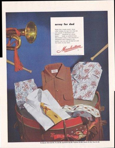 Manhattan Shirts And Ties Mens Clothing 1953 Original Vintage Advertisement