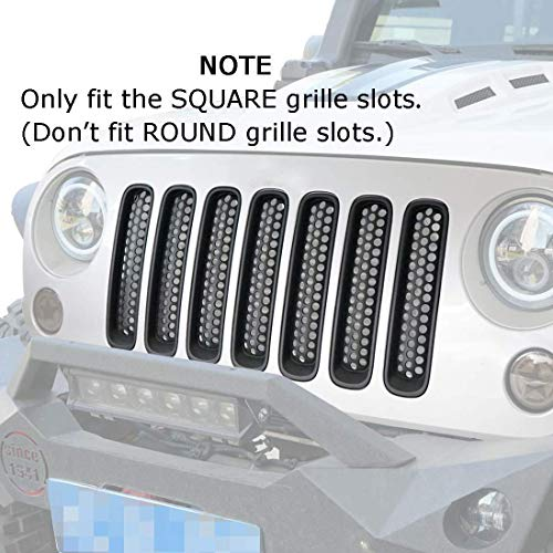 Hooke Road Only fit 2016 2017 Jeep Wrangler JK Factory Grille Square Slots(Won't fit Round Slots), Matte Black Clip in Grille Mesh Inserts Kit (Pack of 7)