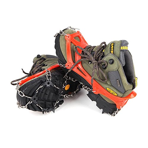 Anxinke Stainless Steel Spikes Grips Cleats Outdoor Ice Crampon, Portable Anti-Slip Ice And Snow Traction Cleats Winter Snowshoes Covers Hiking Shoes Nail Chain (12 Ice Crampon) (Football Cleat Display Case)
