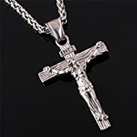 Stainless Steel Antique Cross Crucifix Pendant Necklace, Silver, Size No Size