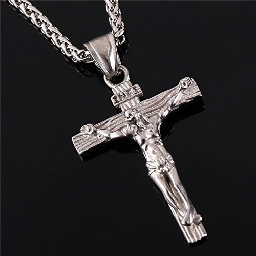 - Stainless Steel Antique Cross Crucifix Pendant Necklace, Silver, Size No Size