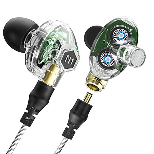 Dual Dynamic Driver Headphone,VJJB N1 Noise Isolating Bassy Earbud with Remote and Mic (Clear Cyrstal)