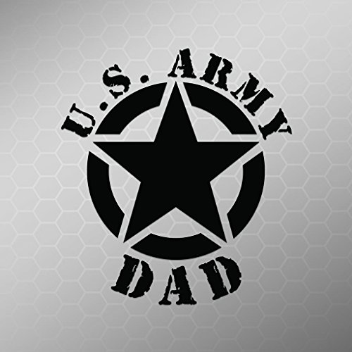 Army Dad Star Vinyl Decal Sticker | Cars Trucks Vans Walls Laptops Cups | Black | 5.5 X 5 Inch | KCD1726B ()