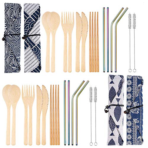 4 Set Bamboo Utensils Reusable Bamboo Cutlery Flatware Set Include Fork Spoon Knife Chopsticks Metal Straws Brush with Carrying Bag (4 Pack Rainbow Straw)