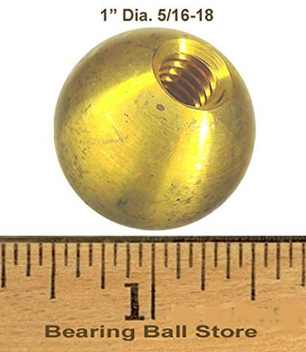 38 1'' threaded 5/16-18 brass balls drilled tapped lamp finials by Bearing Ball Store