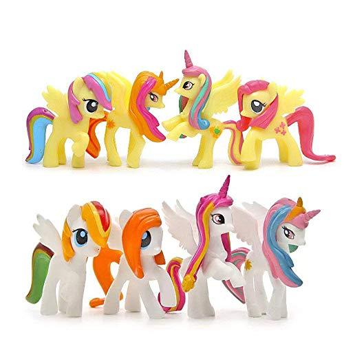 QTFHR 8 pcs (1 Set) Little Pony Toys Figurines Playset, Cake Decoration