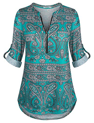 ZKHOECR Paisley Print Tops for Women Long 3 4 Sleeves Blouse Patchwork Ruffle Loose Tunic Fitted Shirts Sweatshirt Texture Zip Front Notch V-Neckline Loose Fit Sexy Green Printing L