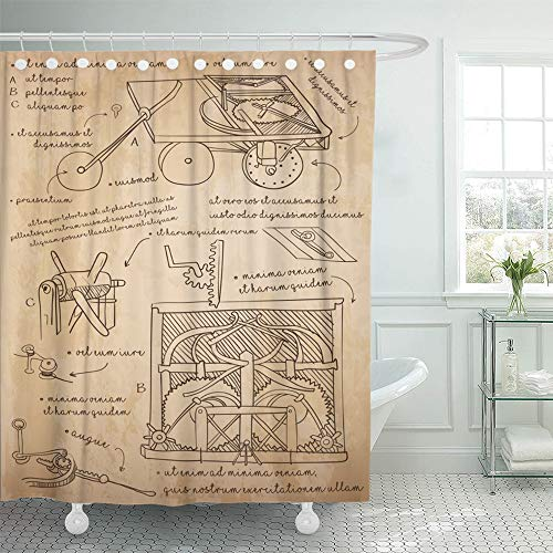 (Emvency Shower Curtain Waterproof Polyester Fabric 72 x 78 inches Drawing Da Vinci Sketch Design for Self Propelled Cart History's First Car Prototype Set with Hooks Decorative Bathroom)