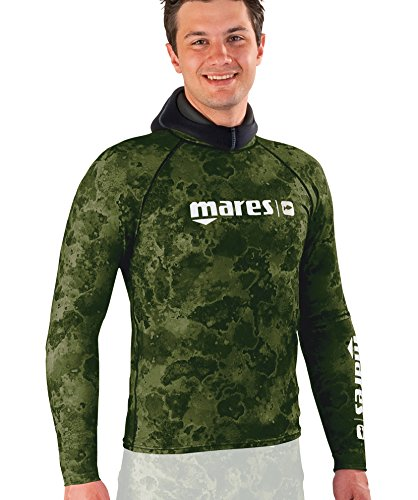 Camo Mares Guard Rash (Mares Long Sleeve Rash Guard with Chest Pad, Green Camo, X-Large)