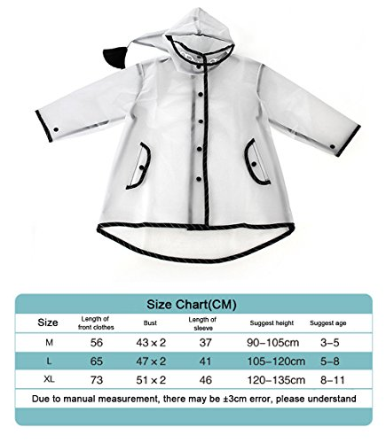 PERTTY Kids Rain Poncho Boys Raincoat Girls Durable Translucent Rain Cape, Outdoor Accessory for Travel, Picnic, Camping, Portable Rain Wear with Hat Hood Unisex for Children, Transparent (L) by PERTTY (Image #6)
