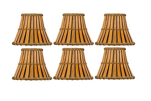 Upgradelights Set of Six Bamboo Style 5 Inch Mini Empire Clip On Chandelier Shades ()