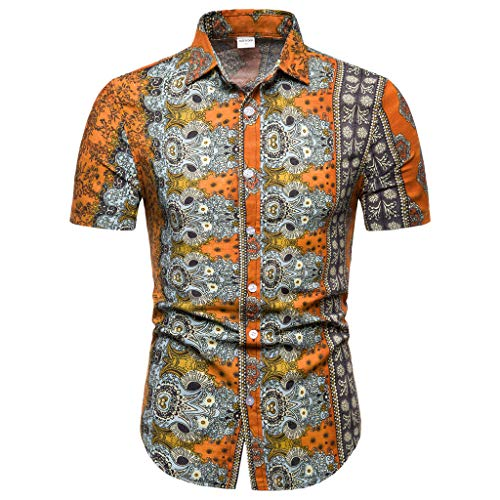 Sunhusing Men's New Boho Style Pattern Print Casual Lapel Short Sleeve Shirt Button-Down Work T-Shirt Orange