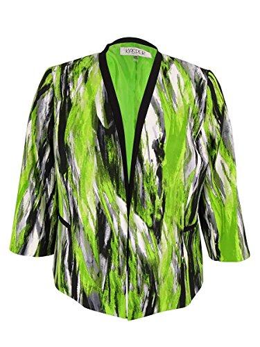 Kasper Women's Plus-Size Printed Framed Jacket, Key Lime Multi, 14W by Kasper
