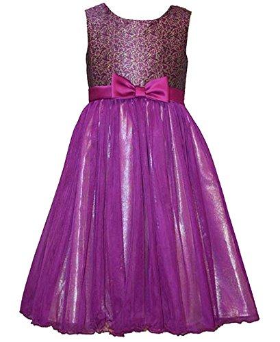 Bonnie Jean Little Girls Brocade Ballerina Dress (5, Purple)]()