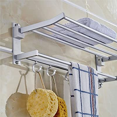Alumimum Folded Silver Bath Towel Rack Storage Shelves Bathroom Ideas Hooks Home Decor Holder Durab Bathroom Accessories