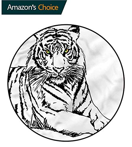 Tigers Small Baseball Rug - RUGSMAT Safari Modern Washable Round Bath Mat,Sketch of Tiger African Pattern Round Area Rugs Thin Diameter-63