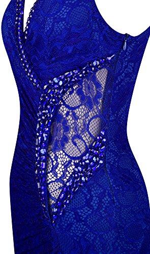 Cuentas fruncido Real Vaina Cordon Volante Angel fashions V cuello en Vestidos Azul Mujer Division WTzaq8RO