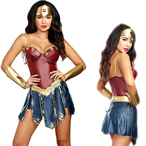 LABABALA Wonder Woman Cosplay Costumes Adult Justice League Super Hero Halloween Sexy Women Fancy Dresses Red -