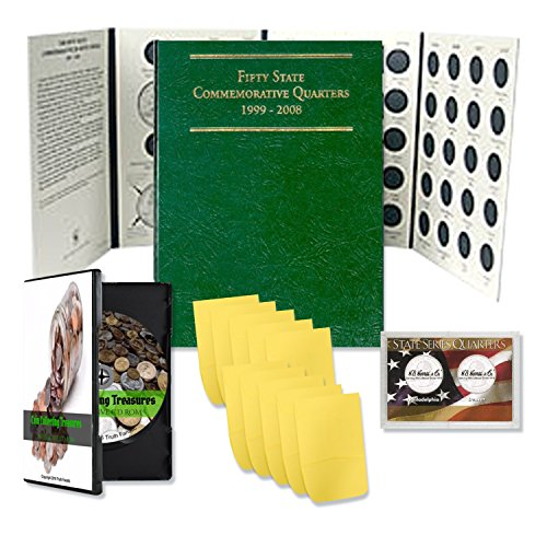 Coin Collecting Starter Kit – Includes Truth Fanatic Coin Collection Treasures Interactive CD Rom, State Park Quarters Album Folder For Quarter Collection 50 States, Case & Envelopes -Bundle Kit Gift