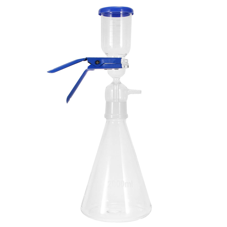 Poafamx Lab Vacuum Filtration Distillation Apparatus Borosilicate Glass 2000ml Flask 300ml Funnel Set for Laboratory Solvent Filtering