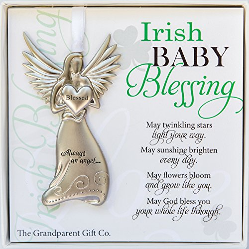 - The Grandparent Gift Irish Baby Angel Ornament and Blessing Card for Baby Baptism, New Baby Boy or Girl